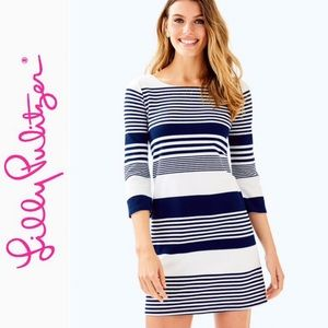 Lilly Pulitzer Bay dress - white/ navy striped- XS